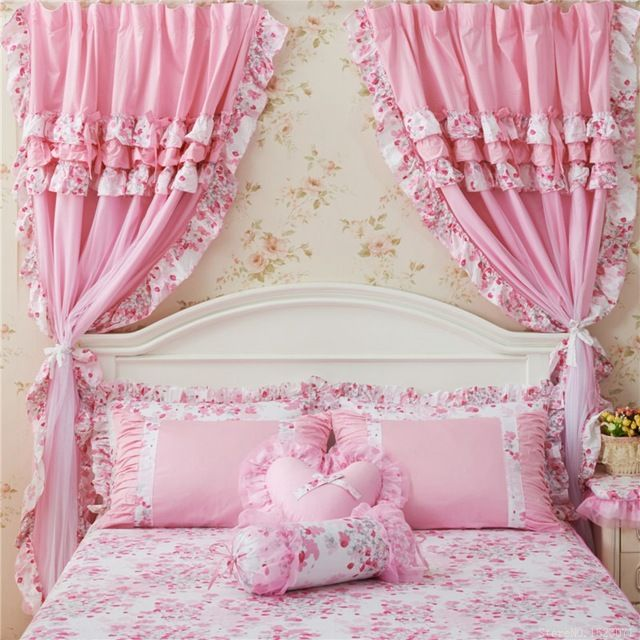 Luxury purple Korean Style floral window curtains set for living ...