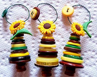 Set of 3 Rainbow Button Tree Ornaments!