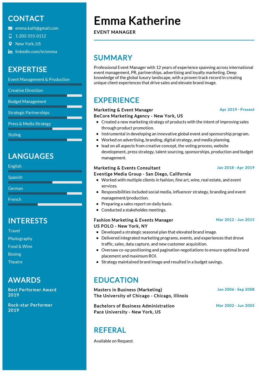 Event Manager Resume Example Event Planner Resume Event Management Event Planning Resume