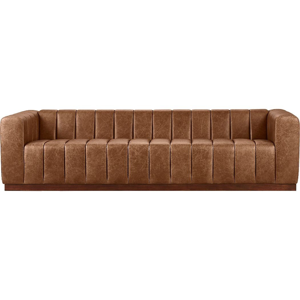 Forte Channeled Saddle Leather Extra Large Sofa In 2020