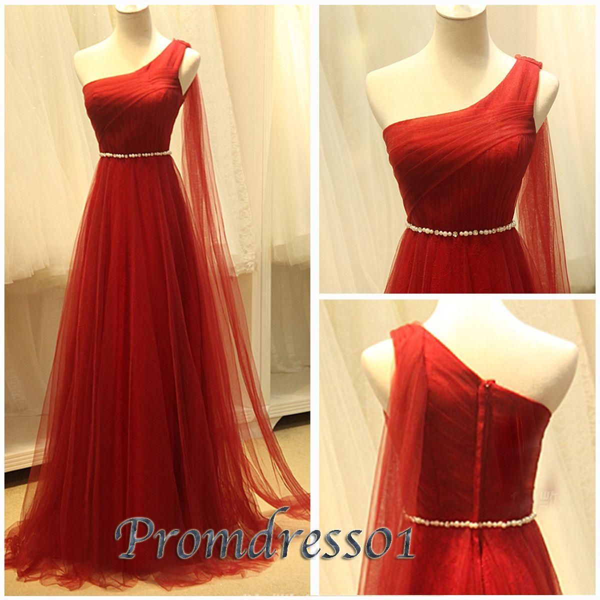 Promdress elegant wine red tulle oneshoulder belt modest pr