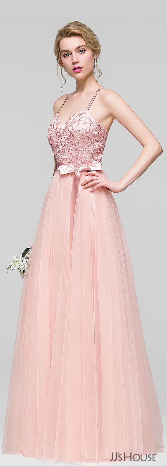 A-Line/Princess Sweetheart Floor-Length Tulle Bridesmaid Dress With ...