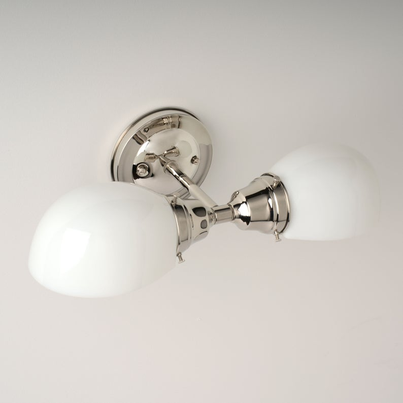 Photo of Kitchen lamp Bathroom lamp Wall lamp with white glass shades