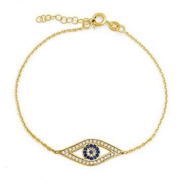 Bling Jewelry Sterling Gold Vermeil Sapphire Color Clear CZ Evil Eye Bracelet