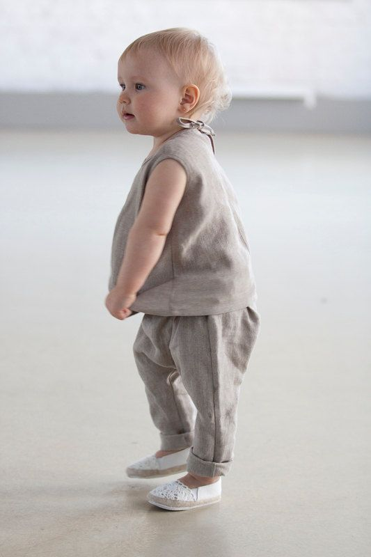 Baby clothes Baptism outfit Girls clothing natural gray linen outfit ...