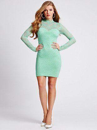 Long-Sleeve Mock-Neck Lace Dress at Guess