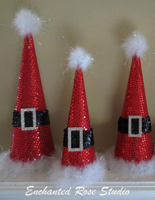 Trio Santa Christmas Tree Cones Sparkle wm