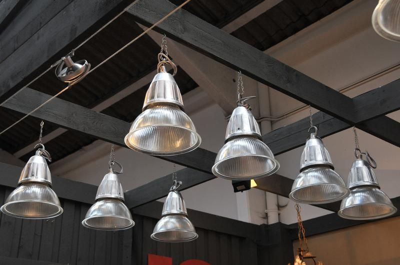 Set Of 20 French Vintage Industrial Holophane Pendant Lights