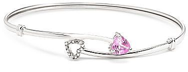 jcpenney FINE JEWELRY Lab Created Pink Sapphire & Diamond-Accent Sterling Silver Bangle Bracelet on shopstyle.com