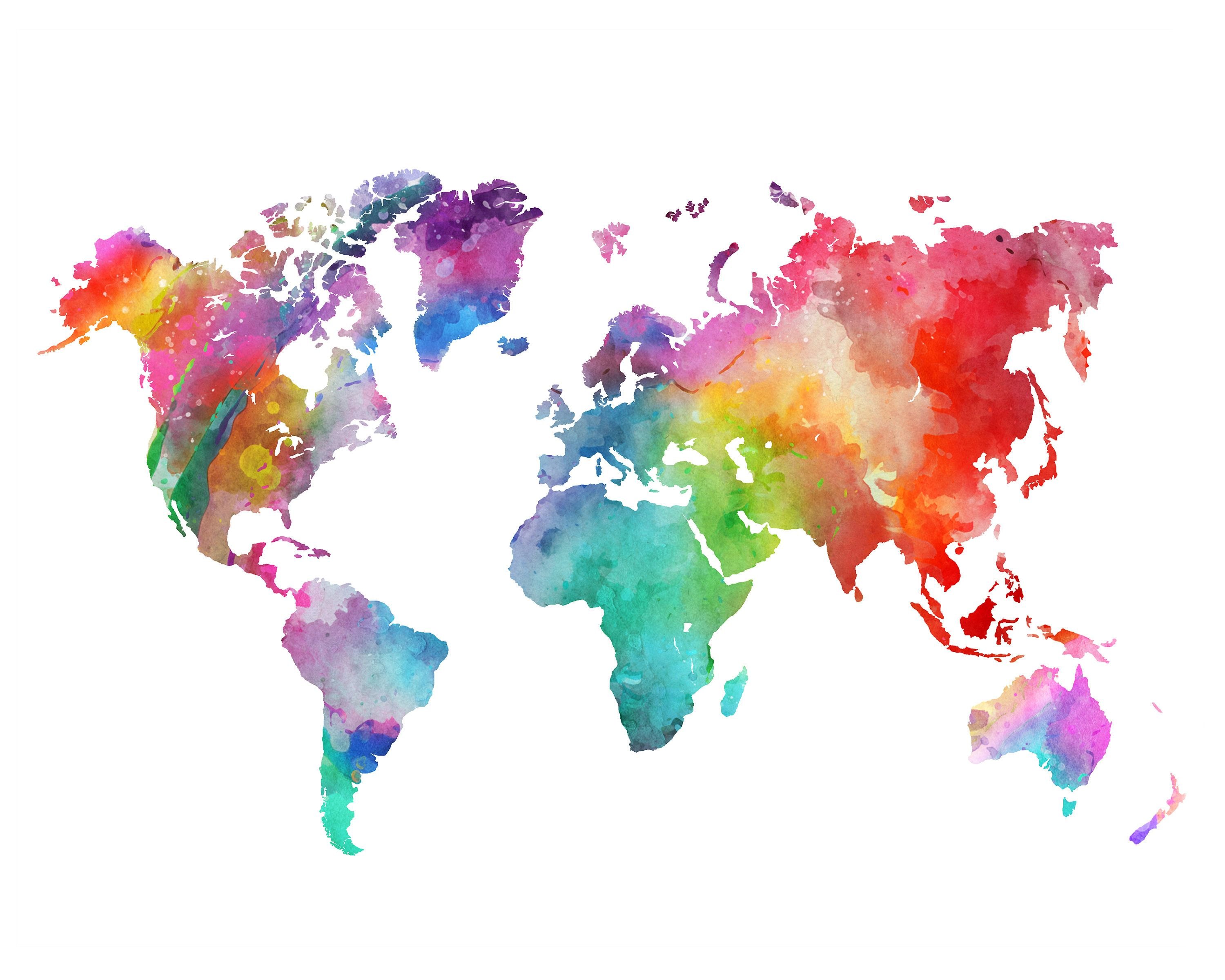 Rainbow World Map Printable Colorful Watercolor World Map Wall Art