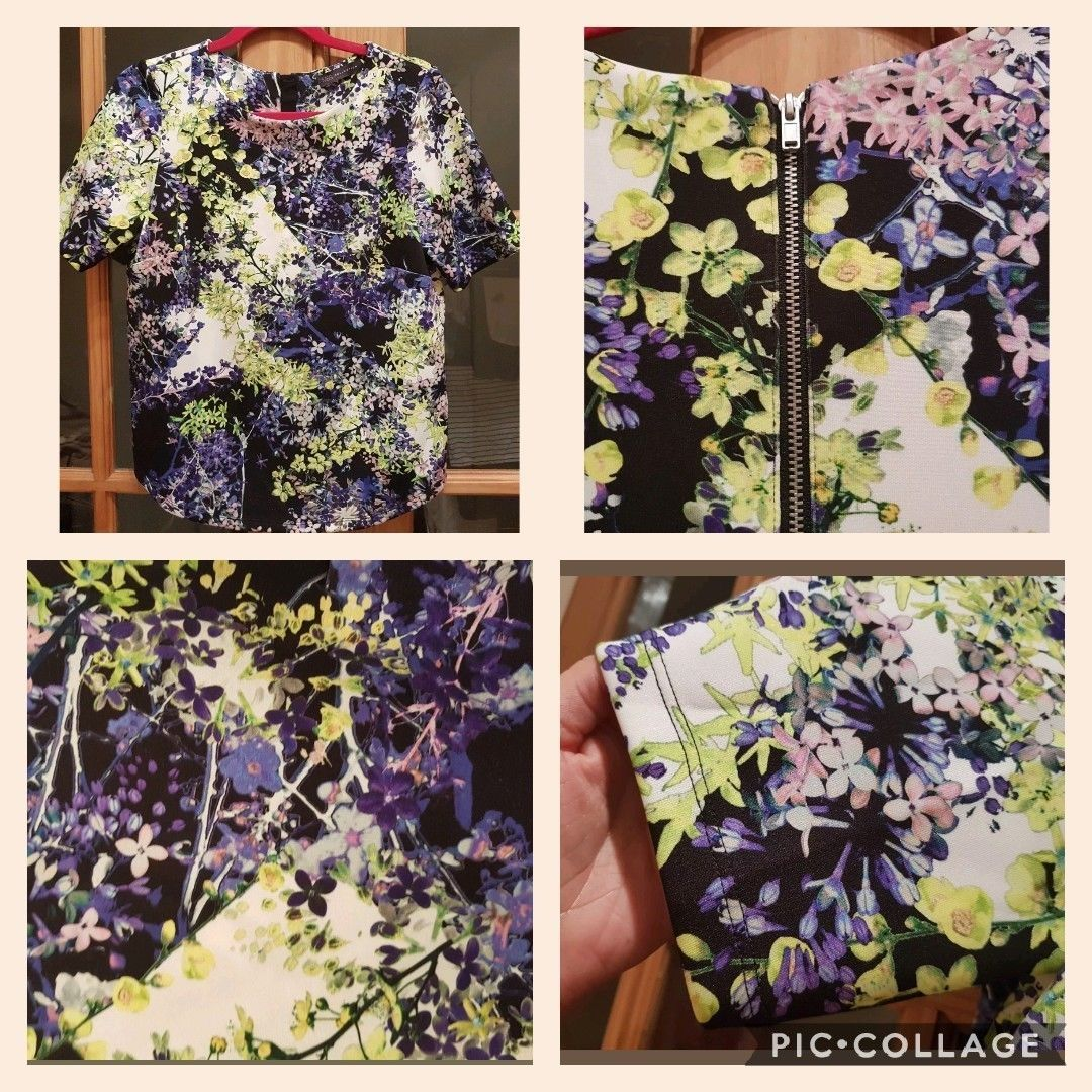 1793df3f6c8 22.85   MARKS & SPENCER NAVY NEON FLORAL ZIP SHIRT TOP BLOUSE SIZE 8