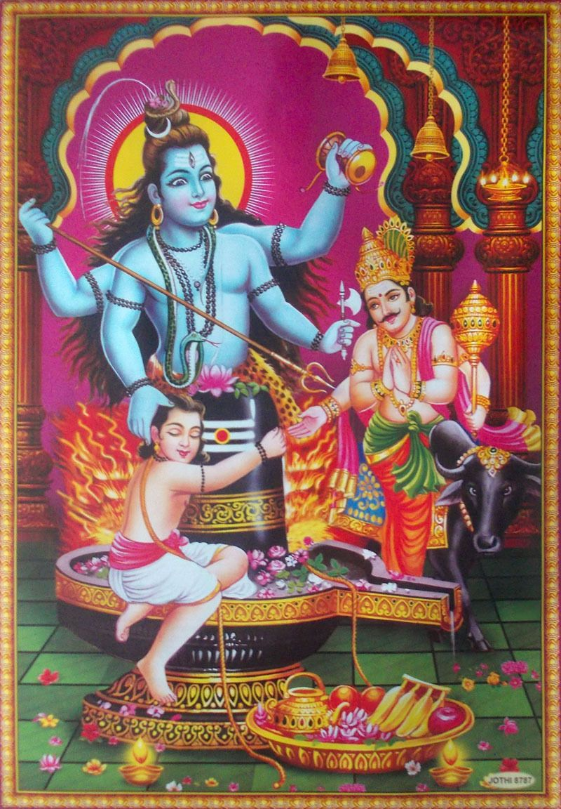 Lord Shiva Saves Deovtee Markandeya From Yamraj Poster Big Size