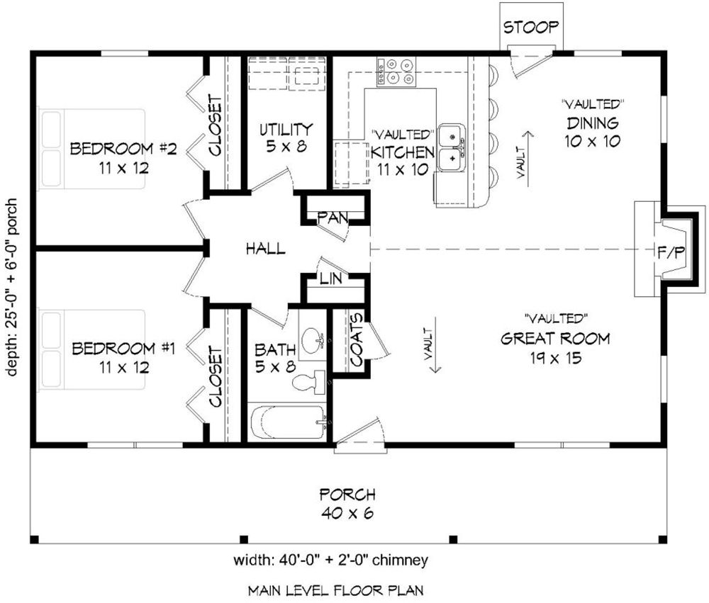 House Plan 94000098 Cabin Plan 1,000 Square Feet, 2