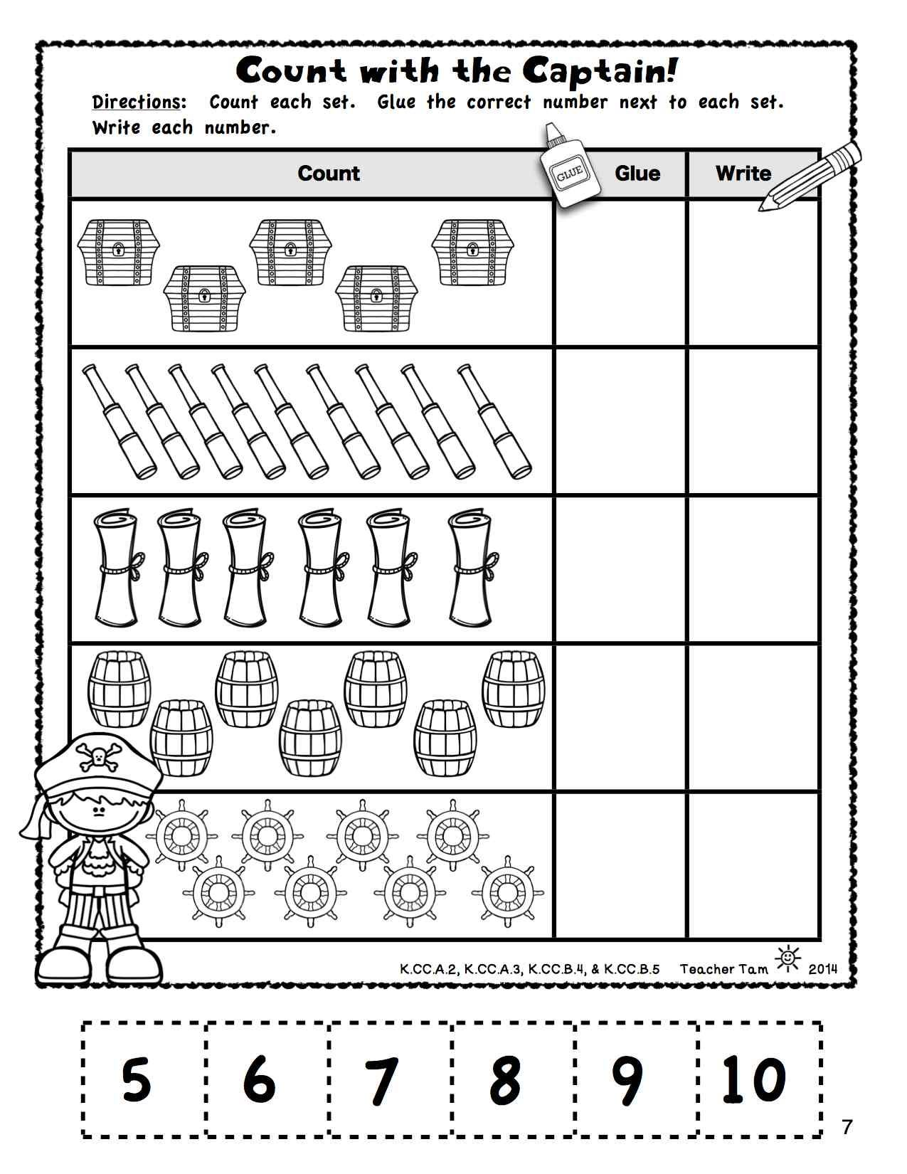 Pirates Math And Literacy Printables For Kindergarten