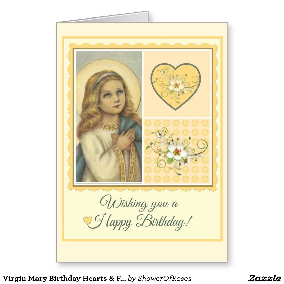 Virgin Mary Birthday Hearts Flowers Card Pinterest Virgin Mary