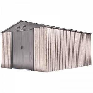 Abri de jardin métal 11m² WoodTouch beige + kit d'ancrag…