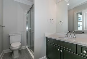 Traditional Bathroom With Arctic White Quartz Penny Tile Floors - Daltile urbandale