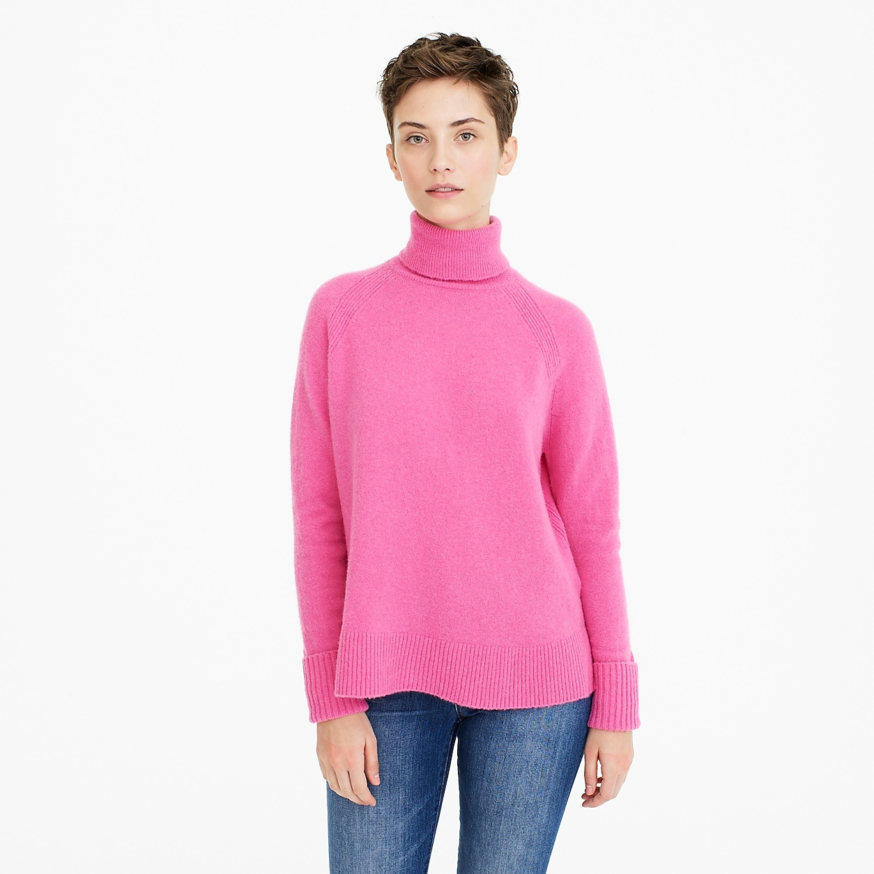3d6cbc1a19ddb4 Turtleneck Sweater With Side Slits In Supersoft Yarn