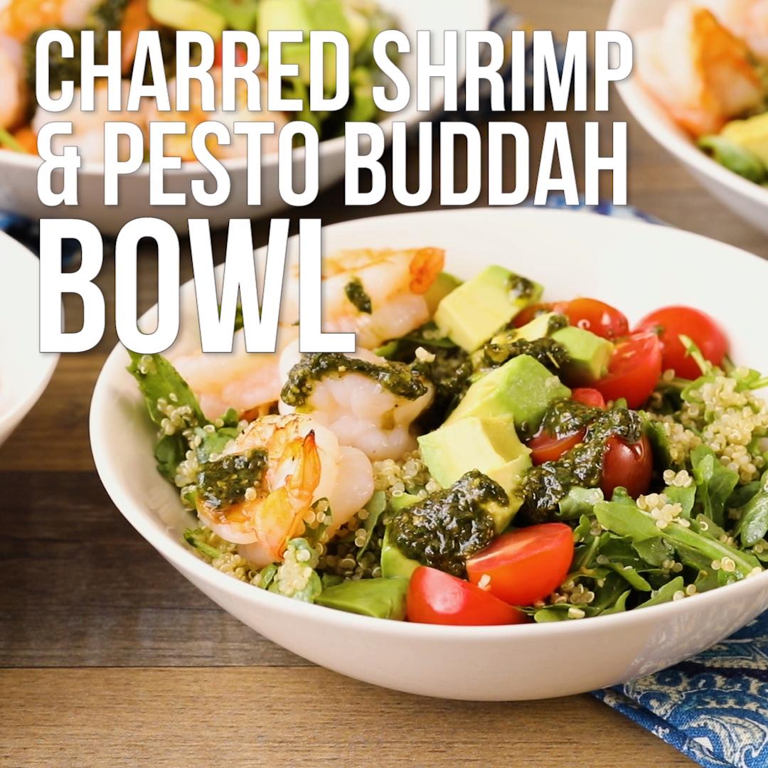 Charred Shrimp & Pesto Buddha Bowls