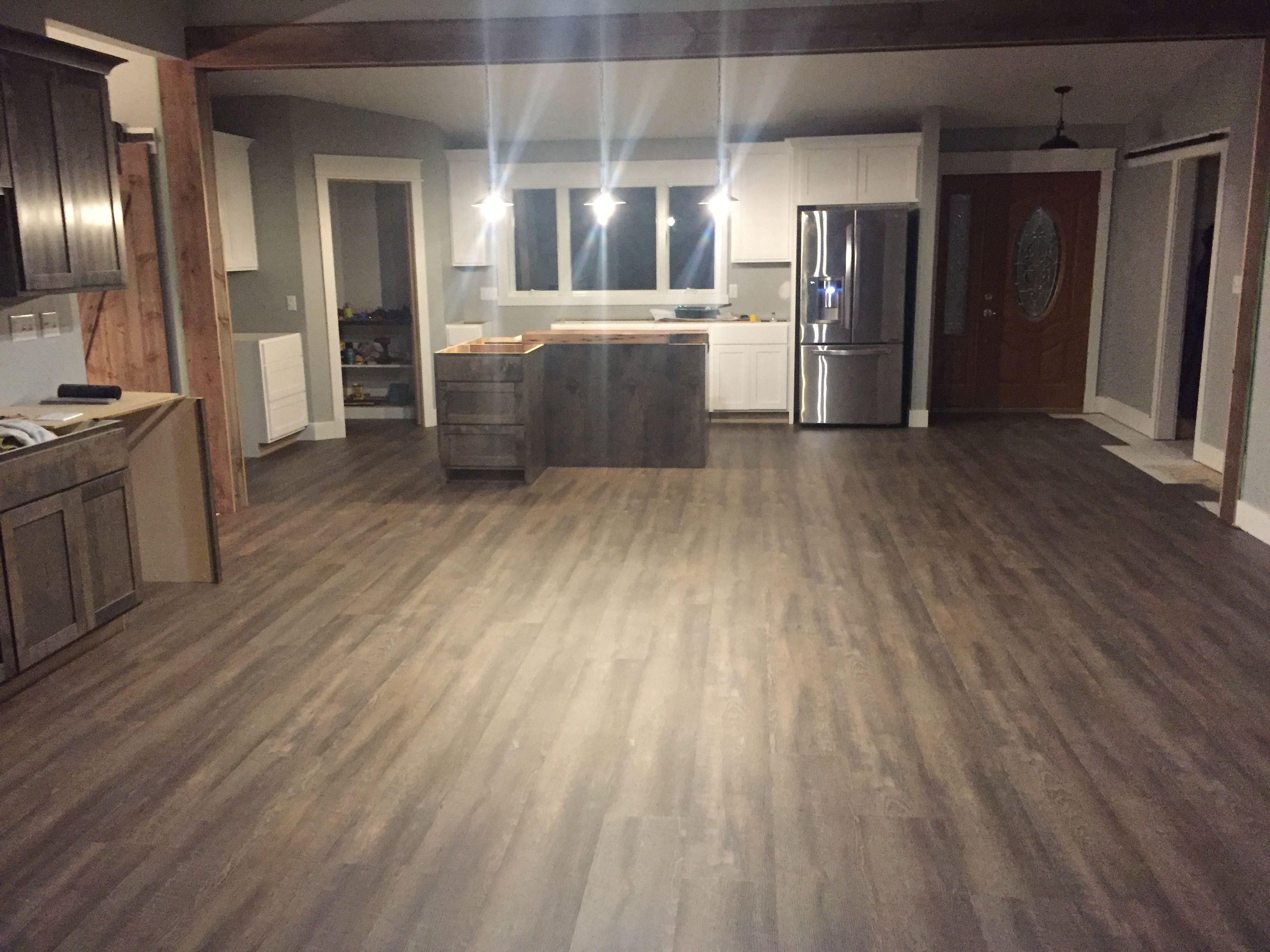 """Coretec Plus XL 7"""" plank LVF luxury vinyl floor, gray and"""