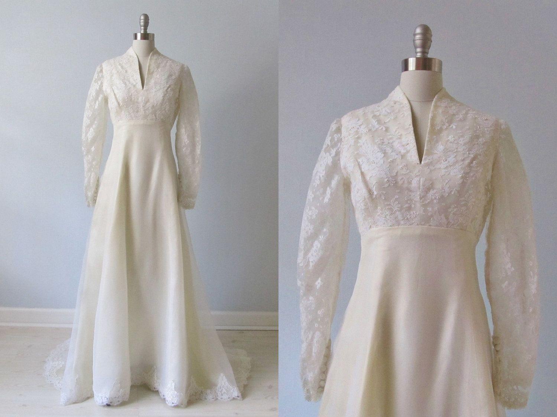 vintage Wedding Dress / 1970s Wedding Dress / High Collar / Simple ...