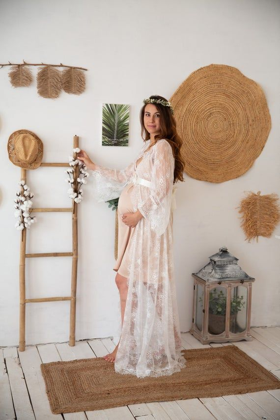 Photo of Maternity Dress for Photo Shoot, Flower lace maternity dress, white ivory lace robe for pregnant wom