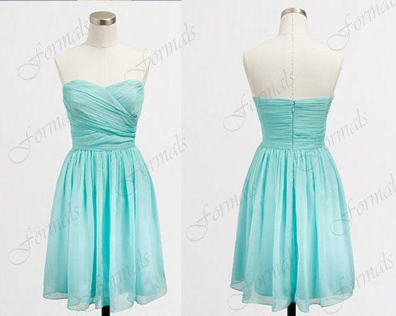 Non Traditional Short Aqua Wedding Dress