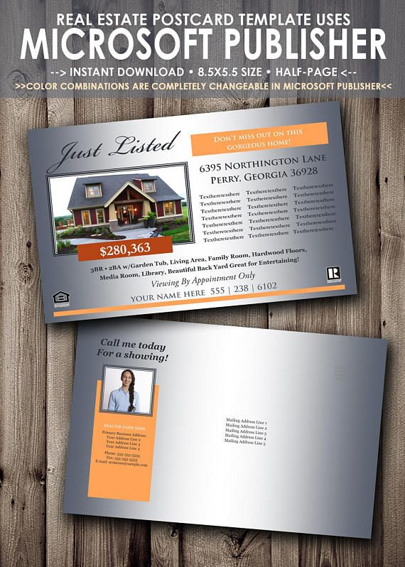 Real Estate Postcard Builder Colors Completely EditableChangeable