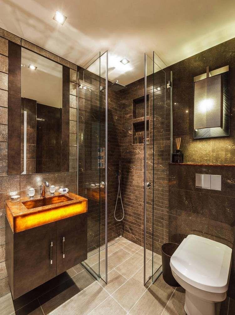 douche à lu0027italienne avec carrelage marron foncé et meuble sous - meuble salle de bain marron