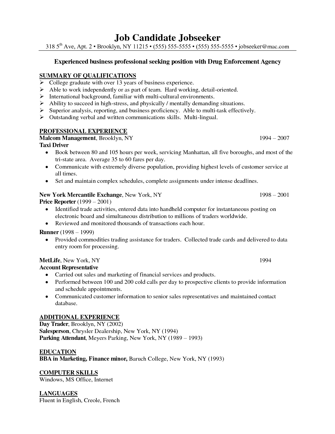 sample business resume template