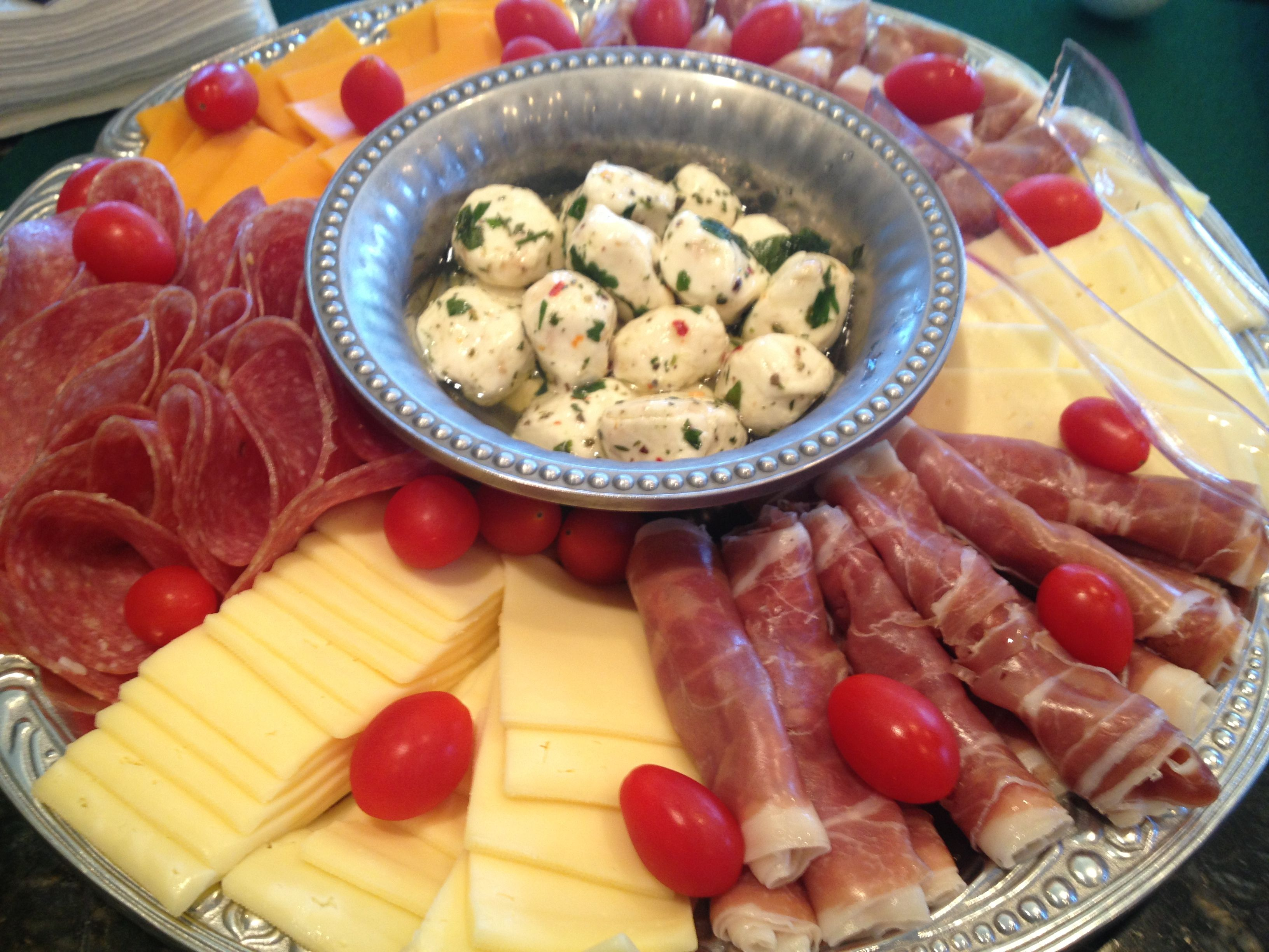Easy Meat \u0026 Cheese platter! Brought everything at Costco and assembled! Pre-sliced cheese (4 diff kinds) prosciutto salami cherry tomatoes for color. & Easy Meat \u0026 Cheese platter! Brought everything at Costco and ...