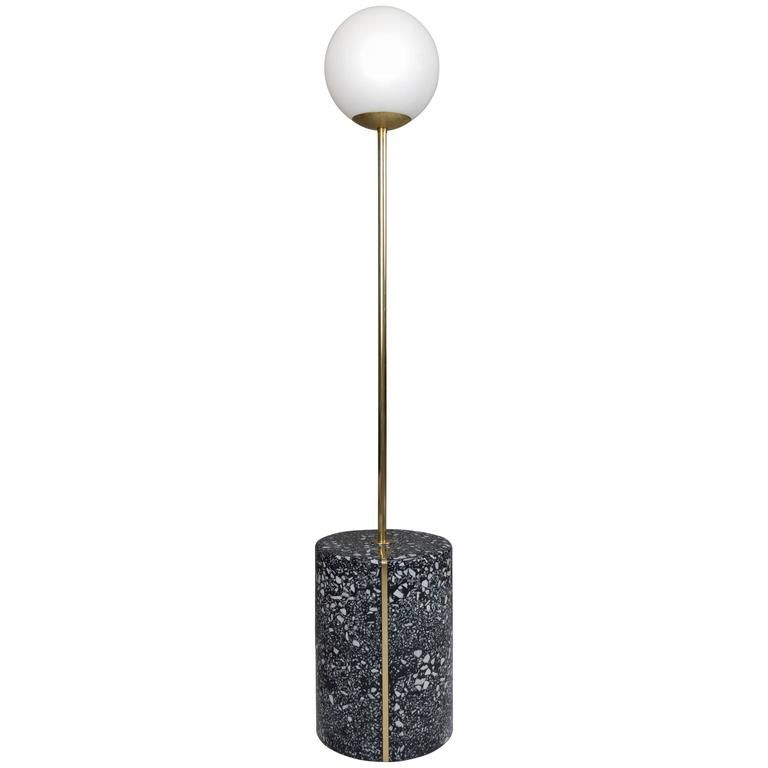 Moon Pole Lamp Cement And Marble Terrazzo With Brass