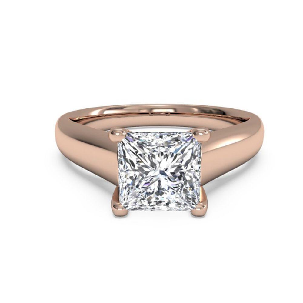 ct princess cut diamond engagement solitaire ring real k rose