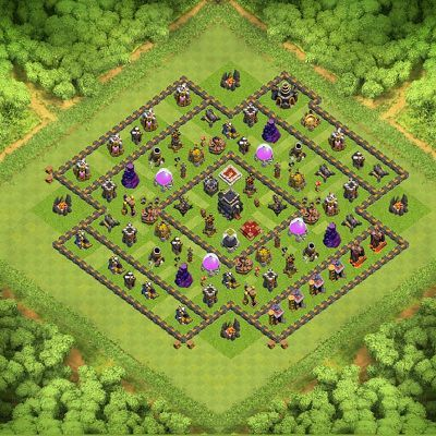 Champion Base Push Trophy Th9 Th 9 Clash Of Clans Base Layout
