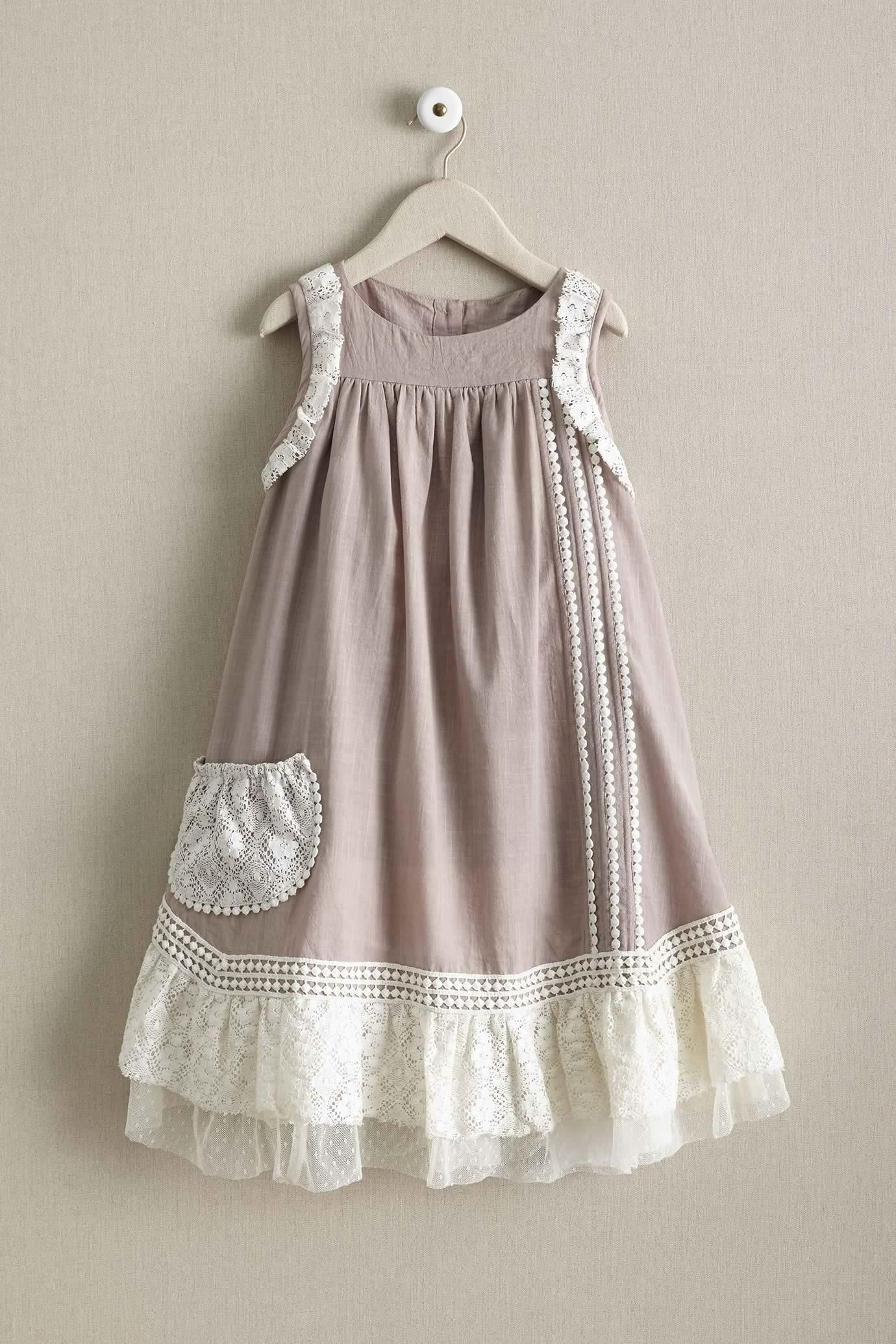 Toddler Baby Girls Vintage Denim Dress Bowknot Princess Lace Trimmed Skirt 1-6Y