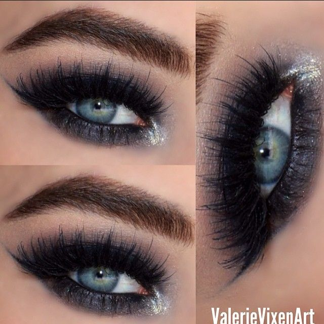 dark black #smokey eye with silver inner corner highlight | evening #makeup @ValerieVixenArt