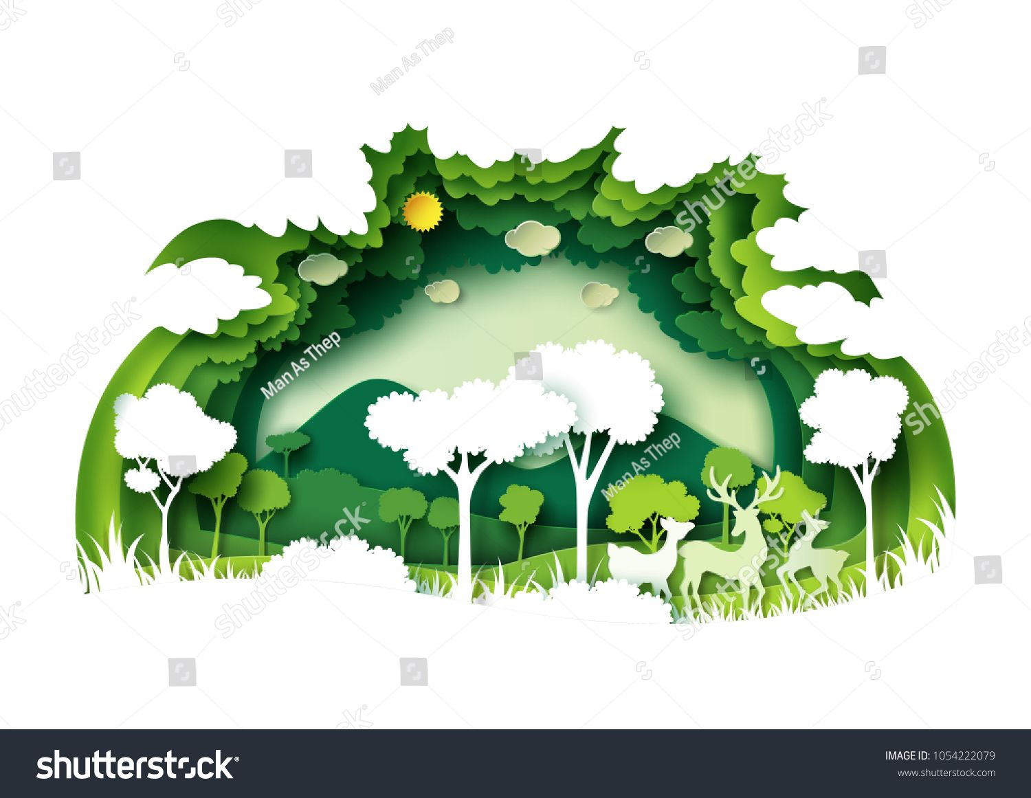 Save The World With Ecology And Environment Conservation Concept Green Forest And Deers Wildlife With Nature Background Nature Paper 3d Paper Art Paper Carving