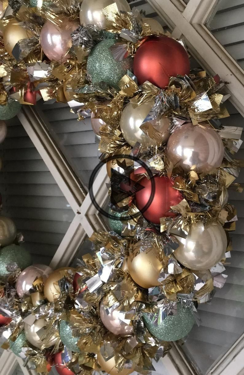 Christmas Bauble Wreath with Chunky Tinsel Garland in Rose Gold, Mint Green, Bronze and Gold
