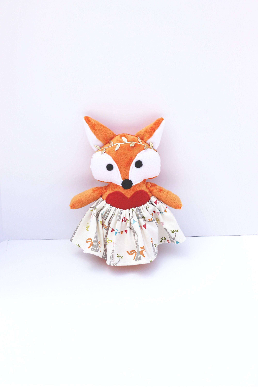 Boho orange dress up fox minky plush fleece baby toys and plushies
