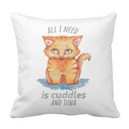 throw pillow with cute and cuddly red tabby kitten