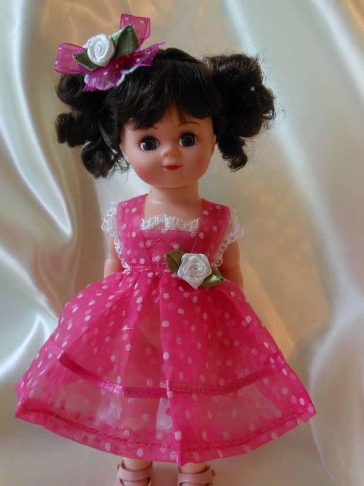 RASBERRY  FROTH, DOTTED SWISS ,dress, fits Ginny, Muffie, all 7 to 8 in. dolls.