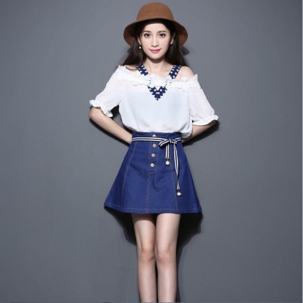c222dda0539 Korean Fashion Leisure Spot New Dew Shoulder Top Garment Bull-Puncher Skirt  Suit Skirt Two-Piece Women Clothing Set Design