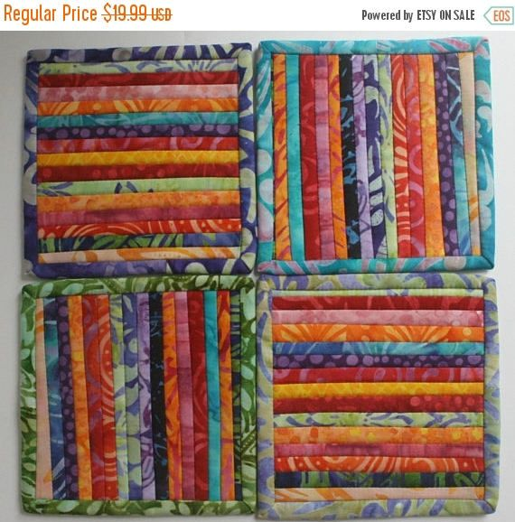Christmasinjuly SALE Drink Coaster Set Four Quilted Mug Rugs