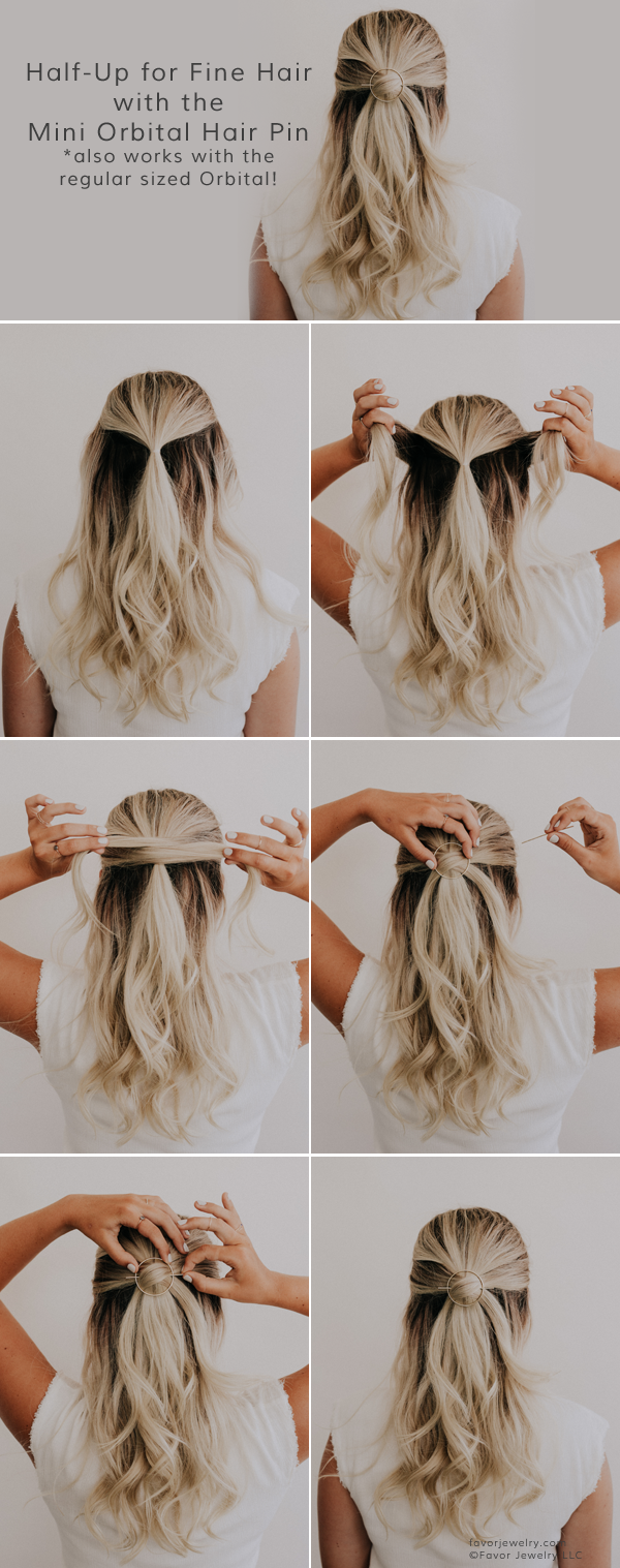 Fine Hair Half Up With The Mini Orbital Hair Pin Favor Jewelry Favor Fine Hair Jewelry In 2020 Fine Hair Medium Hair Styles Half Up Hair