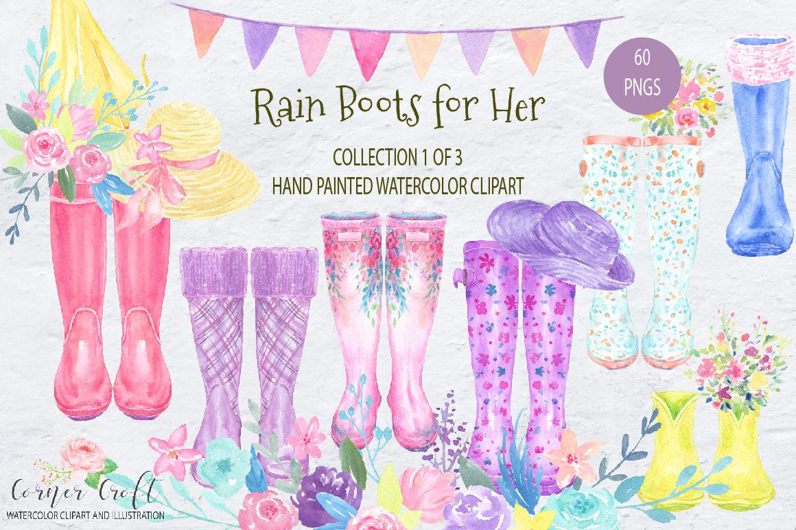 Watercolor Rain Boots For Her Floral Wellies Watercolor