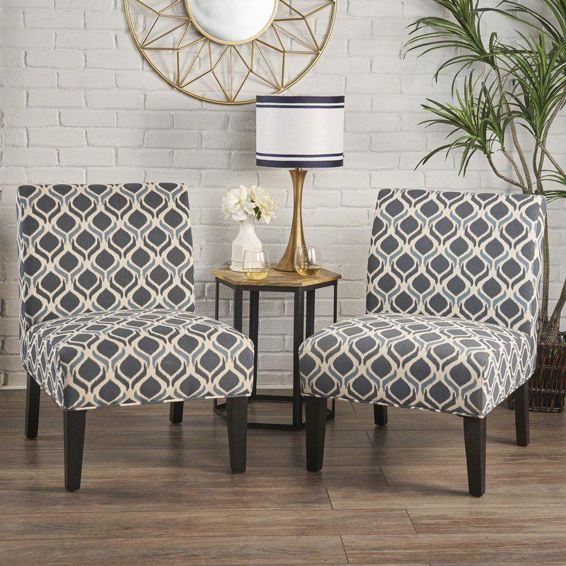 Best Bernardi Slipper Chair Printed Accent Chairs Blue 400 x 300
