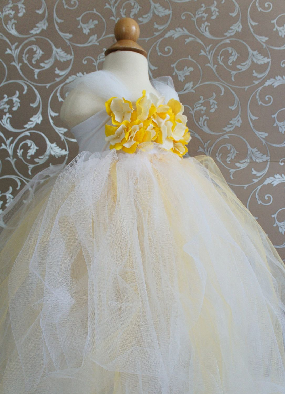 Gorgeous Flower Girl Tutu Dress Photo Prop In Ivory And Yellow