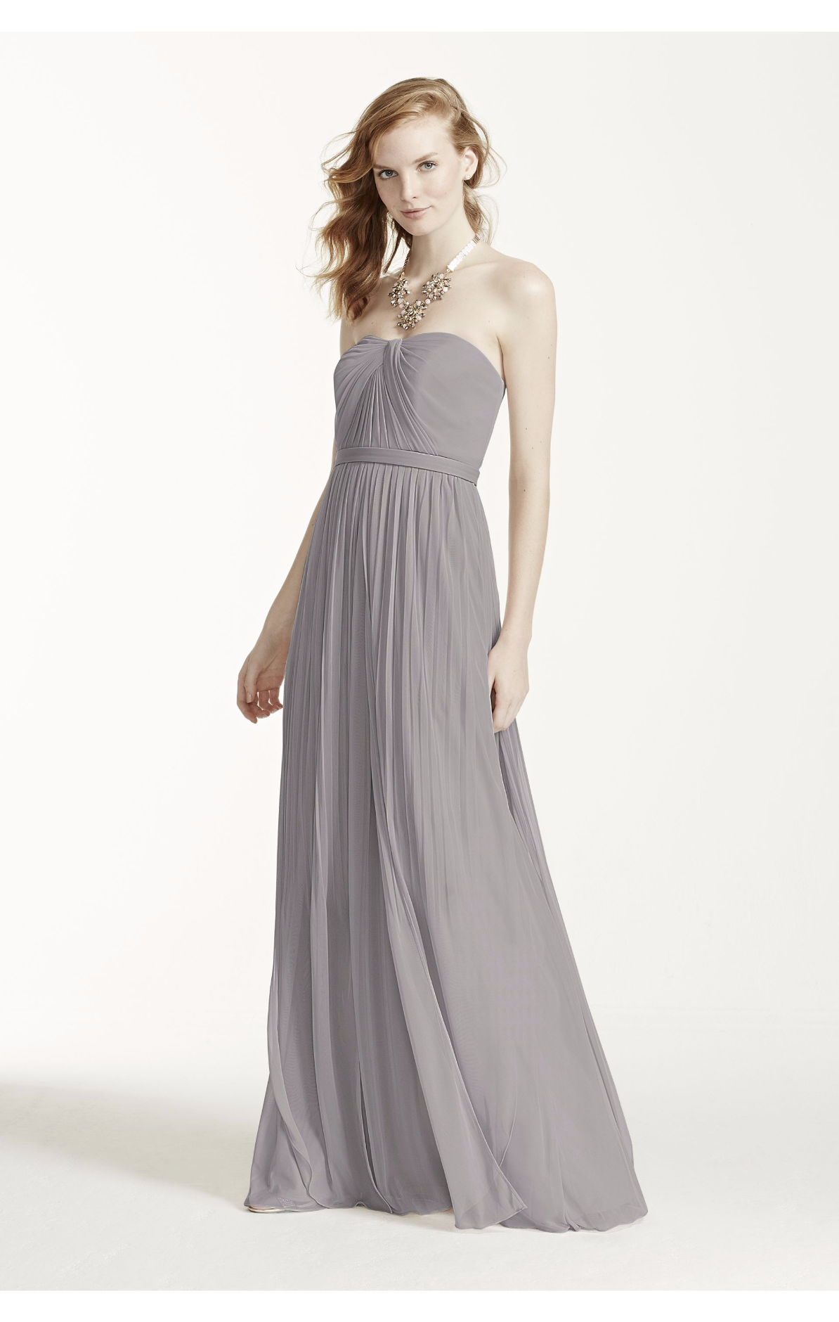 Mercury gray convertible neckline bridesmaids dress amberus maids