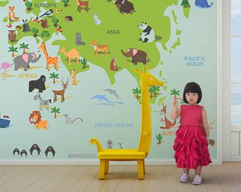 World map for kids removable wallpaper self adhesive wallpaper world map for kids removable wallpaper self adhesive wallpaper vintage wallpaper world map gumiabroncs Choice Image