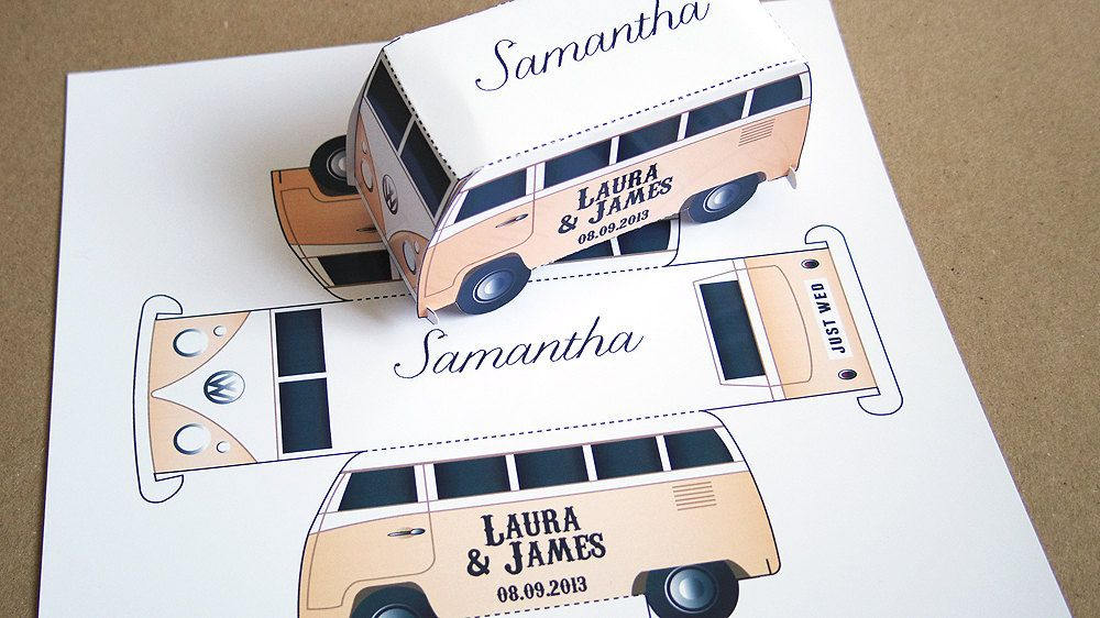 Camper van Place Cards - Wedding Party Favour Boxes.